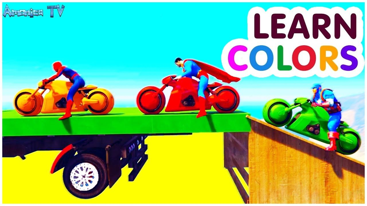 Colours Vehicle Motorbike With Car Cartoon Colors For Children
