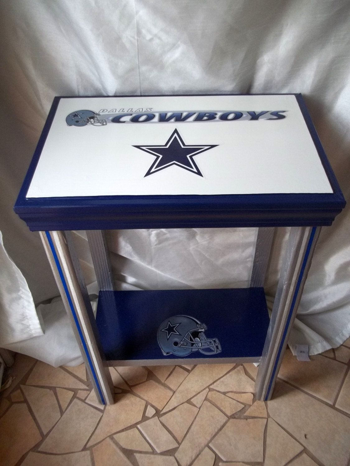 Dallas Cowboys Inspired Sports Table, NFL, Football, Man Cave Decor, End  Table, Side Table, Accent Table, Blue, White, Star, Gifts For Men By  DrSportsCaves ...