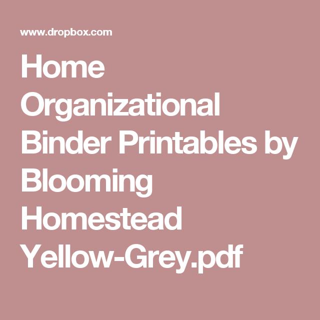 Home Organizational Binder Printables By Blooming