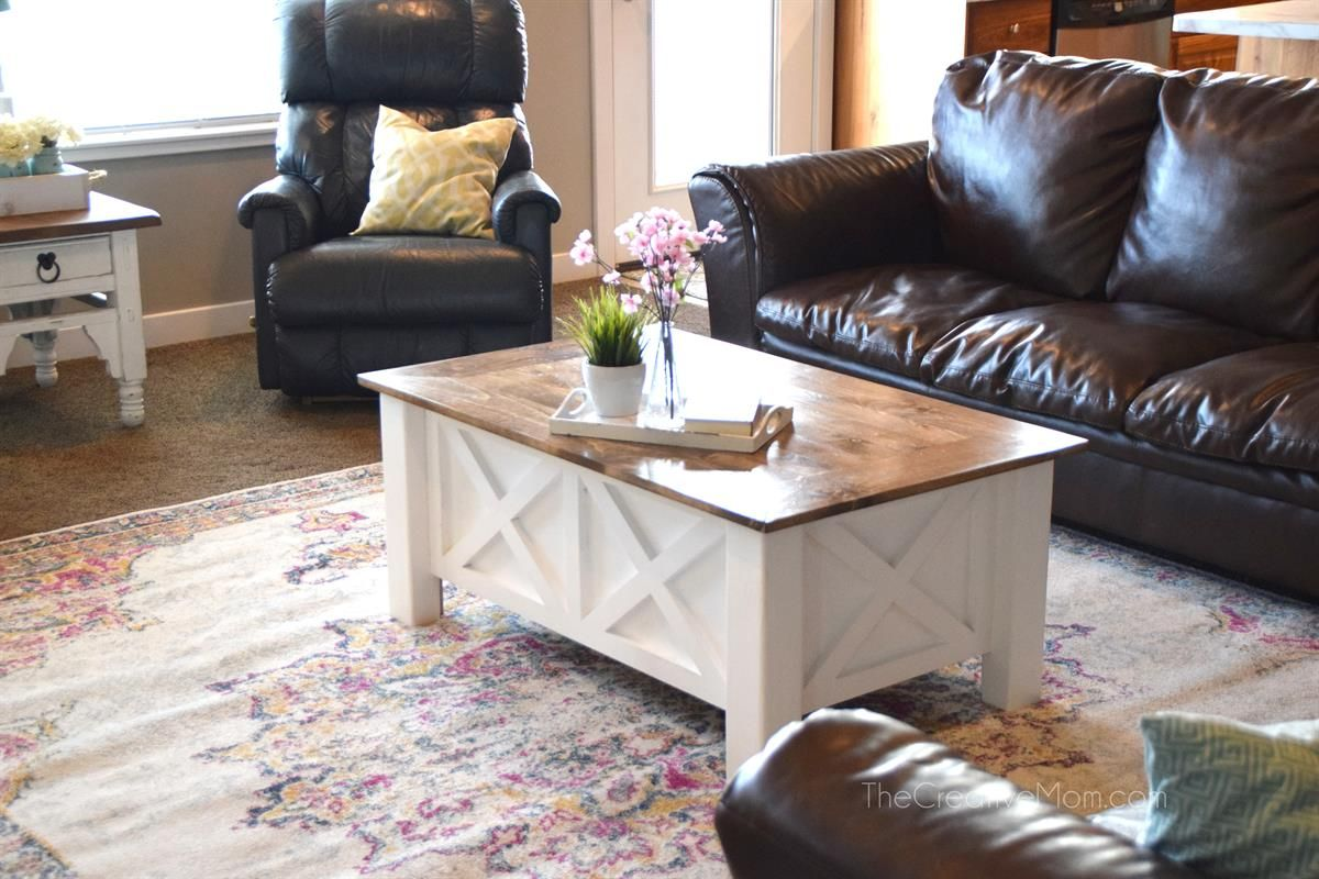 Plans To Build A Darling Farmhouse Style Coffee Table With Built