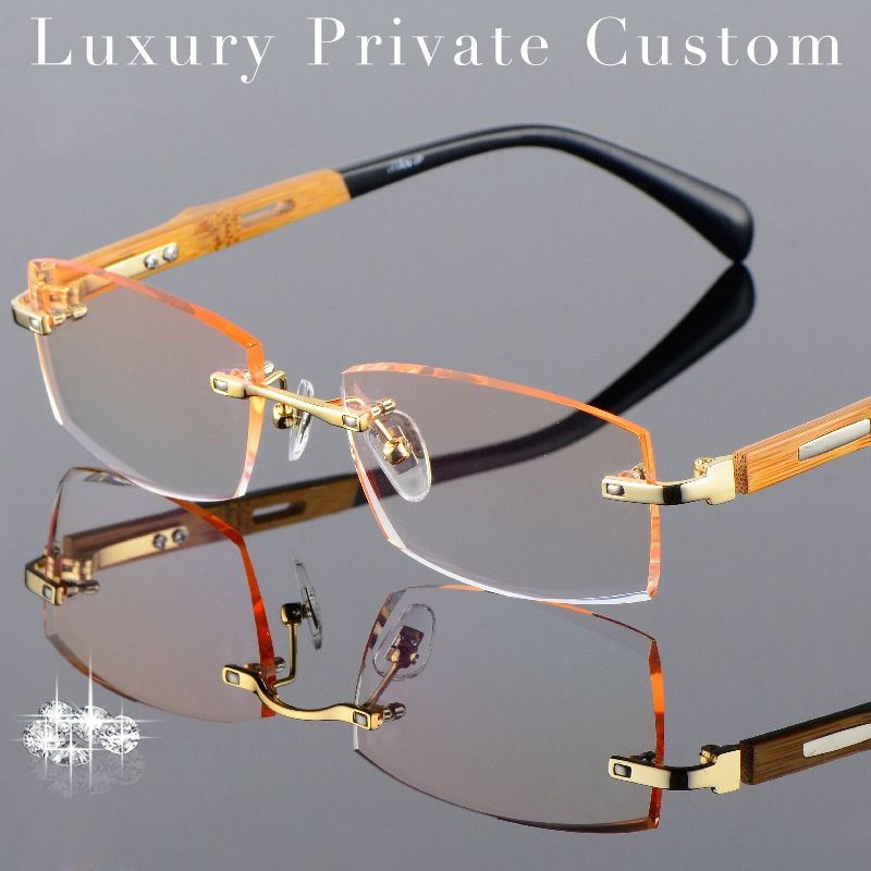 f6c96bd9de5d Titanium Eyeglasses Rimless Men Gold Wood Glasses Frame Prescription Myopic  Glasses Ti Anti Reflection Lens Anti Scratch Glasses-in Eyewear Frames from  ...
