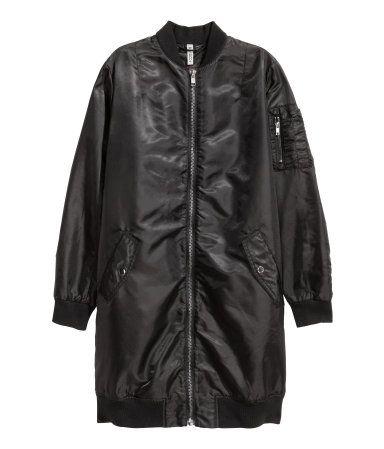 Long Bomber Jacket | Black | Ladies | H&M US | Long bomber