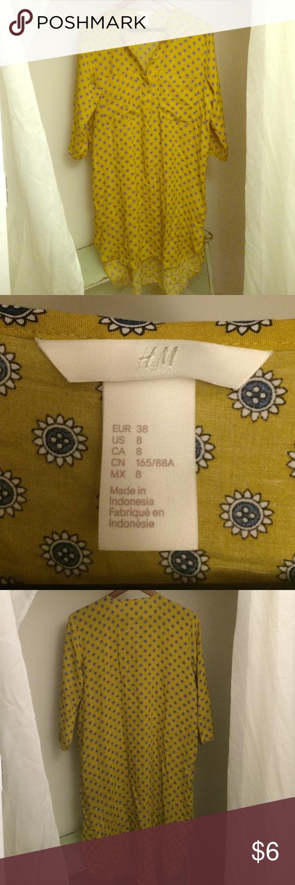 H&M Sunflower Button Print Shirt Dress | Printed shirt ...