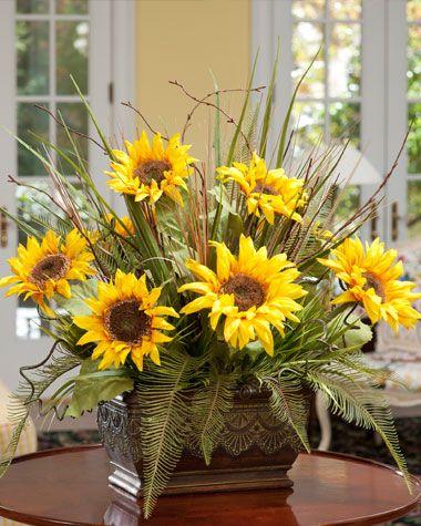 Yellow silk sunflower fern centerpiece high quality artificial yellow silk sunflower fern centerpiece high quality artificial floral arrangements mightylinksfo