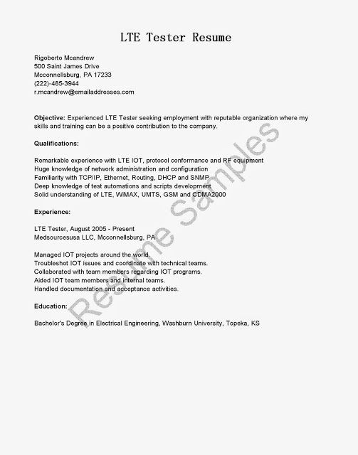 Cisco Test Engineer Sample Resume - Free Letter Templates Online