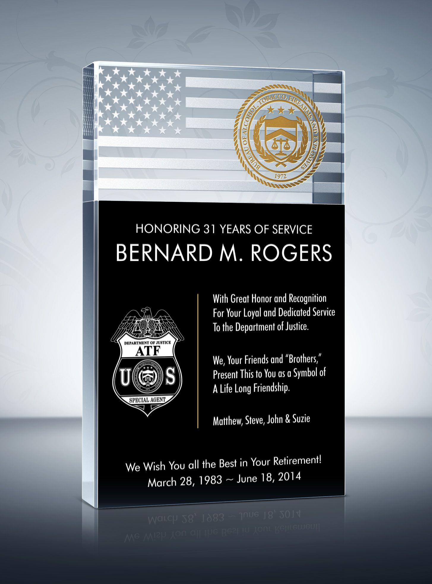 Law enforcement retirement plaque police retirement
