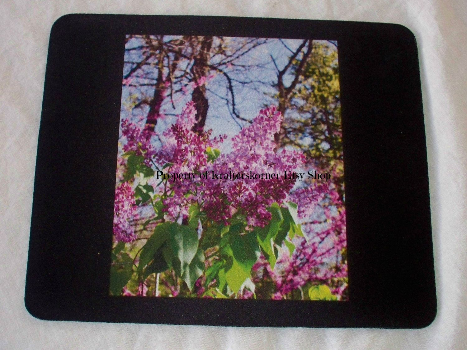 Mouse Pad With Original Pink Lilacs Photo. $15.00, via Etsy.