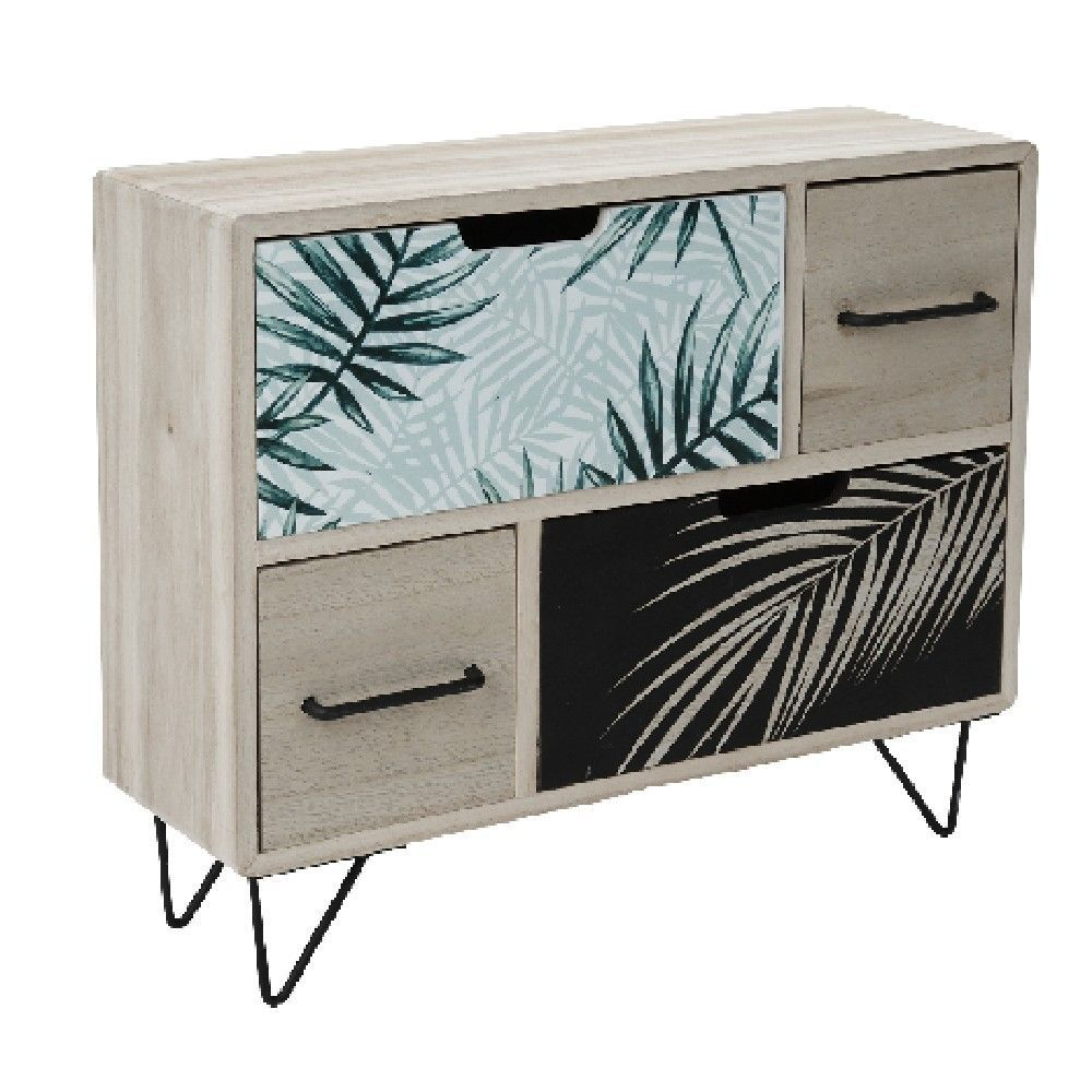 Mini Meuble De Rangement 4 Tiroirs Collection Tropical Gifi