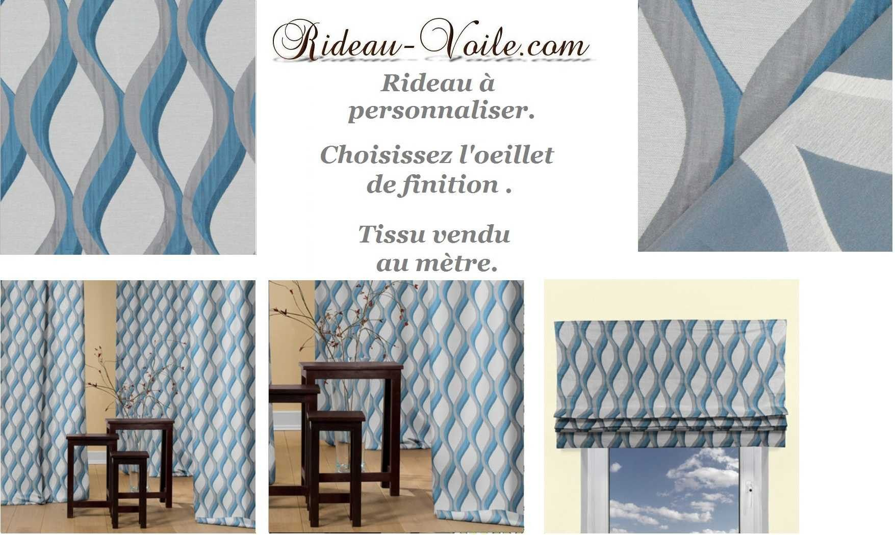 rideau jacquard bleu gris blanc. Black Bedroom Furniture Sets. Home Design Ideas