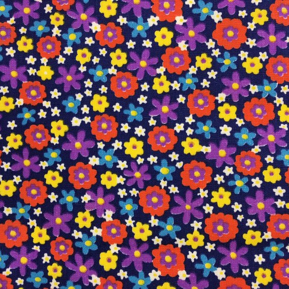 Vintage 1960's Ditsy Print Fabric 1 Yard Blue Purple Red