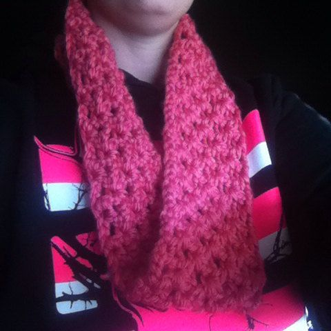 Textured infinity scarf (pink) on Etsy, $10.00