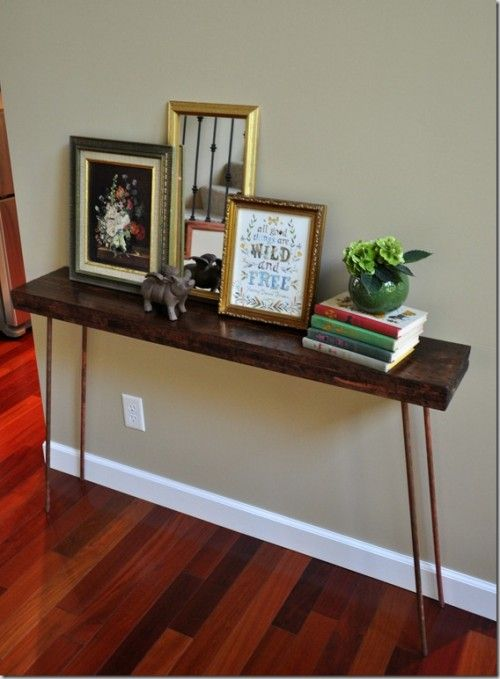 How To Build A Console Table Tutorial, Copper Legs   To Do With Reclaimed  Wood Top