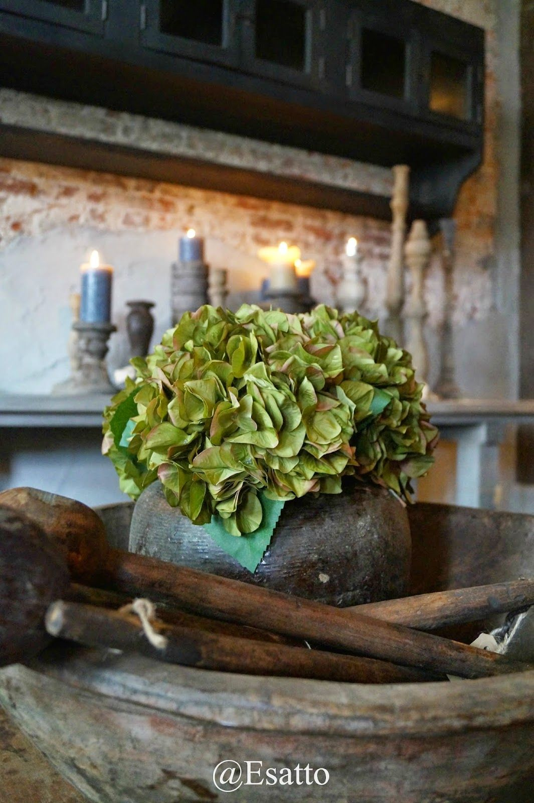 Tafelstukje interieur inspiratie pinterest hortensia landelijk wonen en decoratie - Rustieke eetkamer decoratie ...