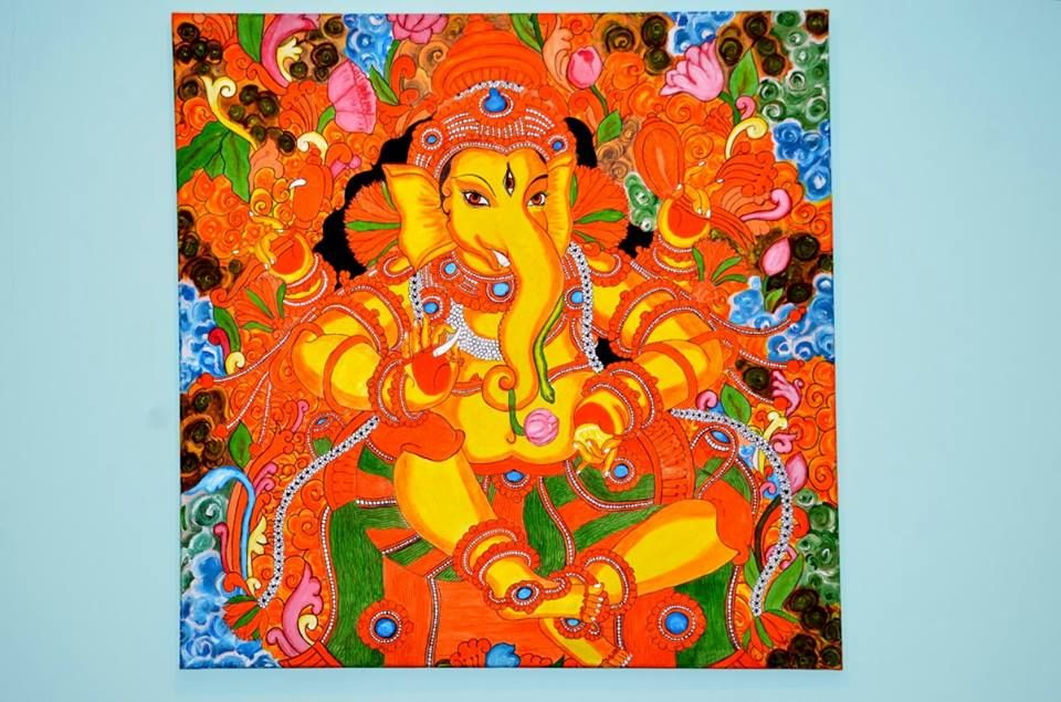 Kerala mural painting art of lord ganesha based on the for Mural art of ganesha