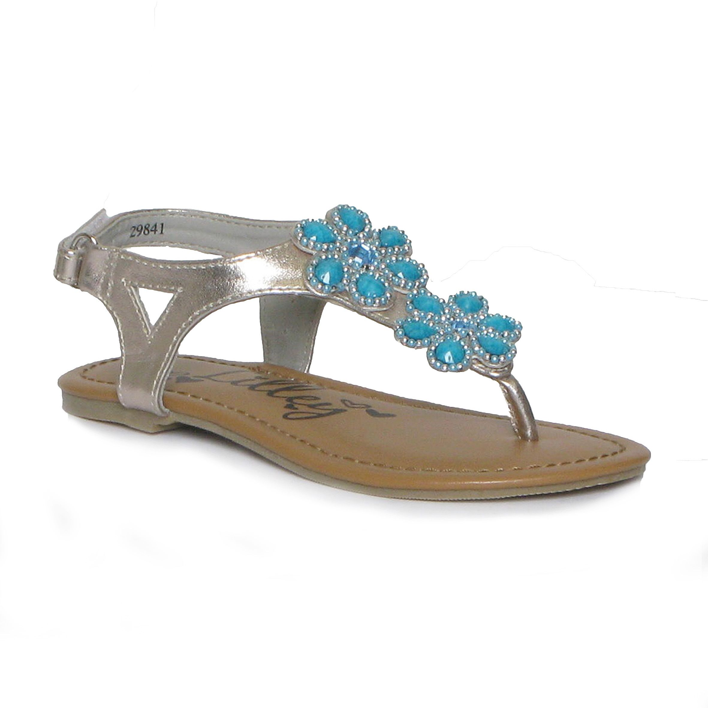 5a1090ebe221 29841 £6.49 www.shoezone.com irls Silver Toe Post Sandal with Turquoise  Beaded Flower Detail  girls  summer  sandal  silver  turquoise  flowers   beads ...