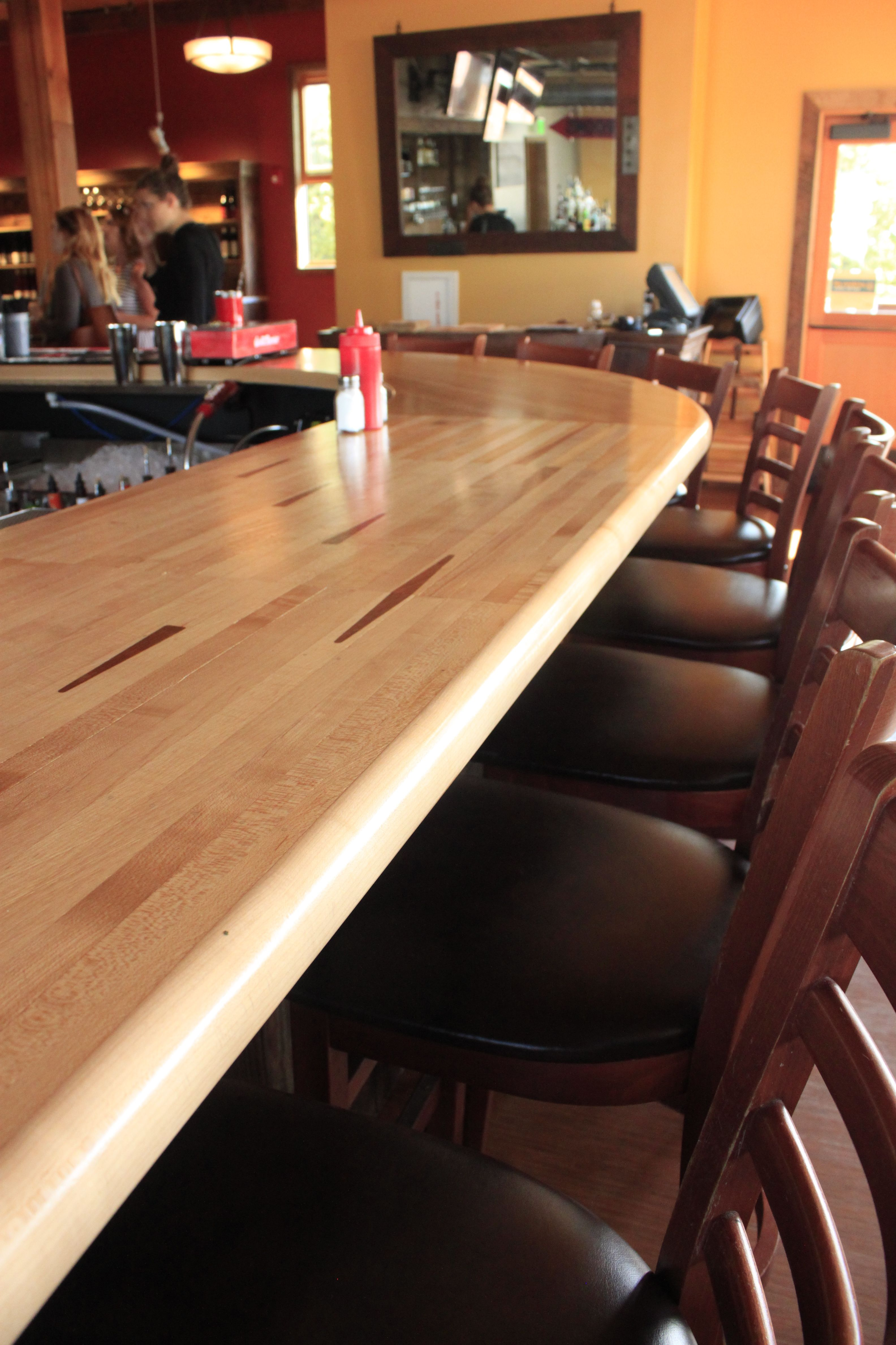 A Reclaimed Bowling Alley Lane Can Be Repurposed Into A Bar!  Http://www.craftmarkinc.com/reclaimed Timber Products/