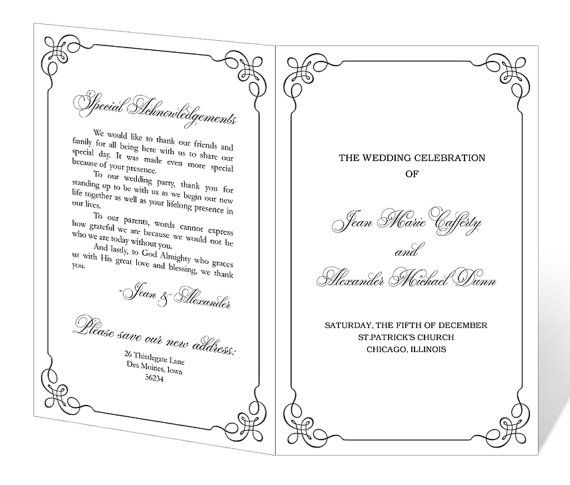 Wedding Program Template Printable - INSTANT DOWNLOAD - programs templates free