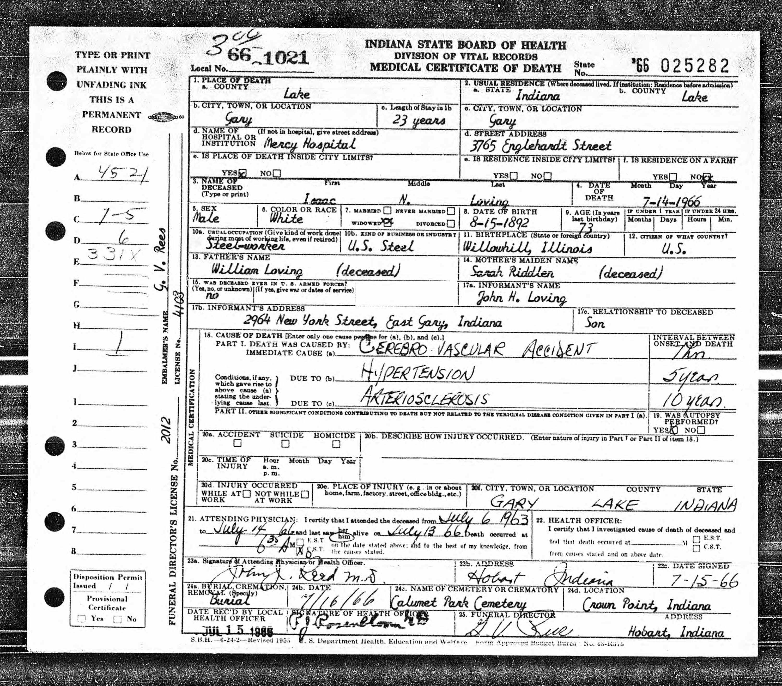 William Loving Discovered In Indiana Death Certificates 1899 2011