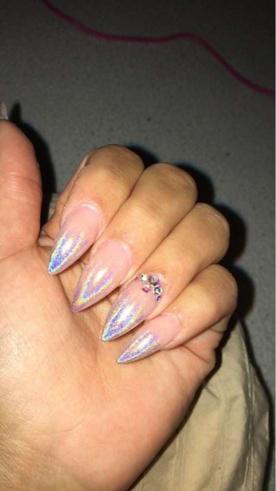 Laser Nail Glitters Acrylic Nail Coffin Nail Design For Fall Summer ...