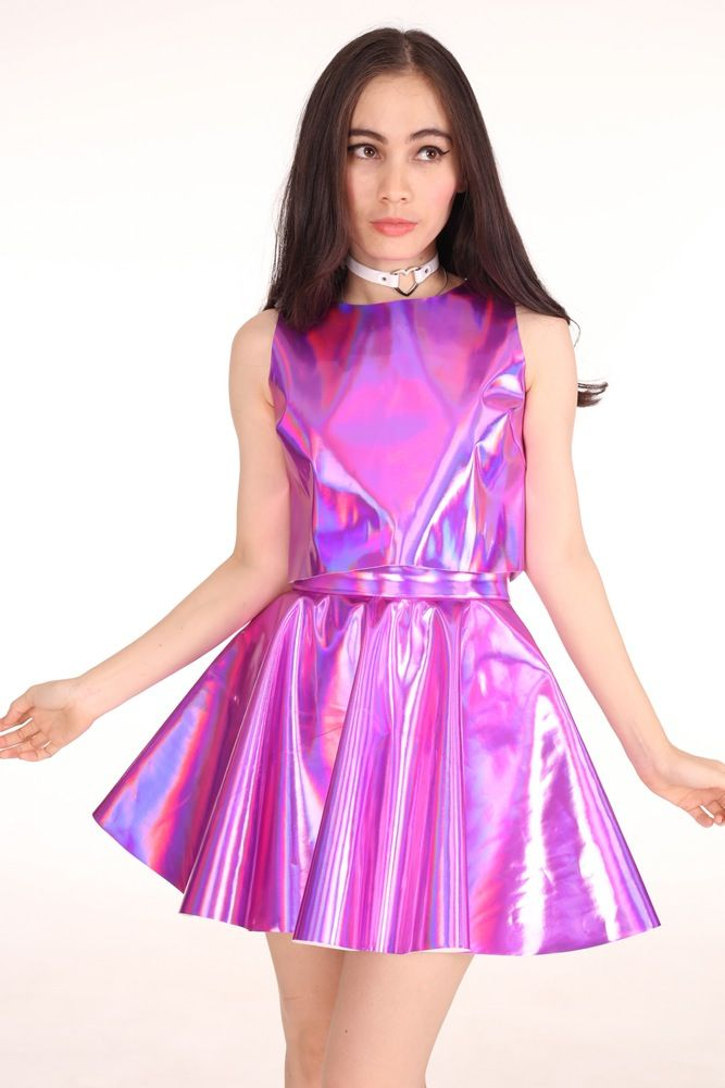 Image of Made To Order - Daniela 2 Piece Set in Pink Hologram ...