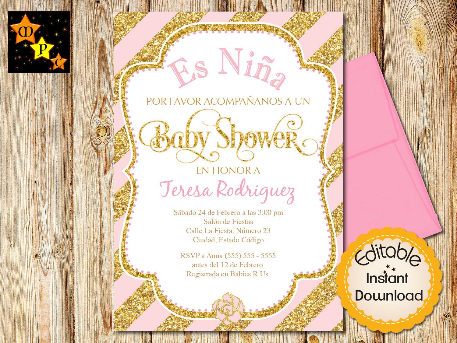 SPANISH Baby Shower Invitation, Girl, Pink and Gold Elephant ...
