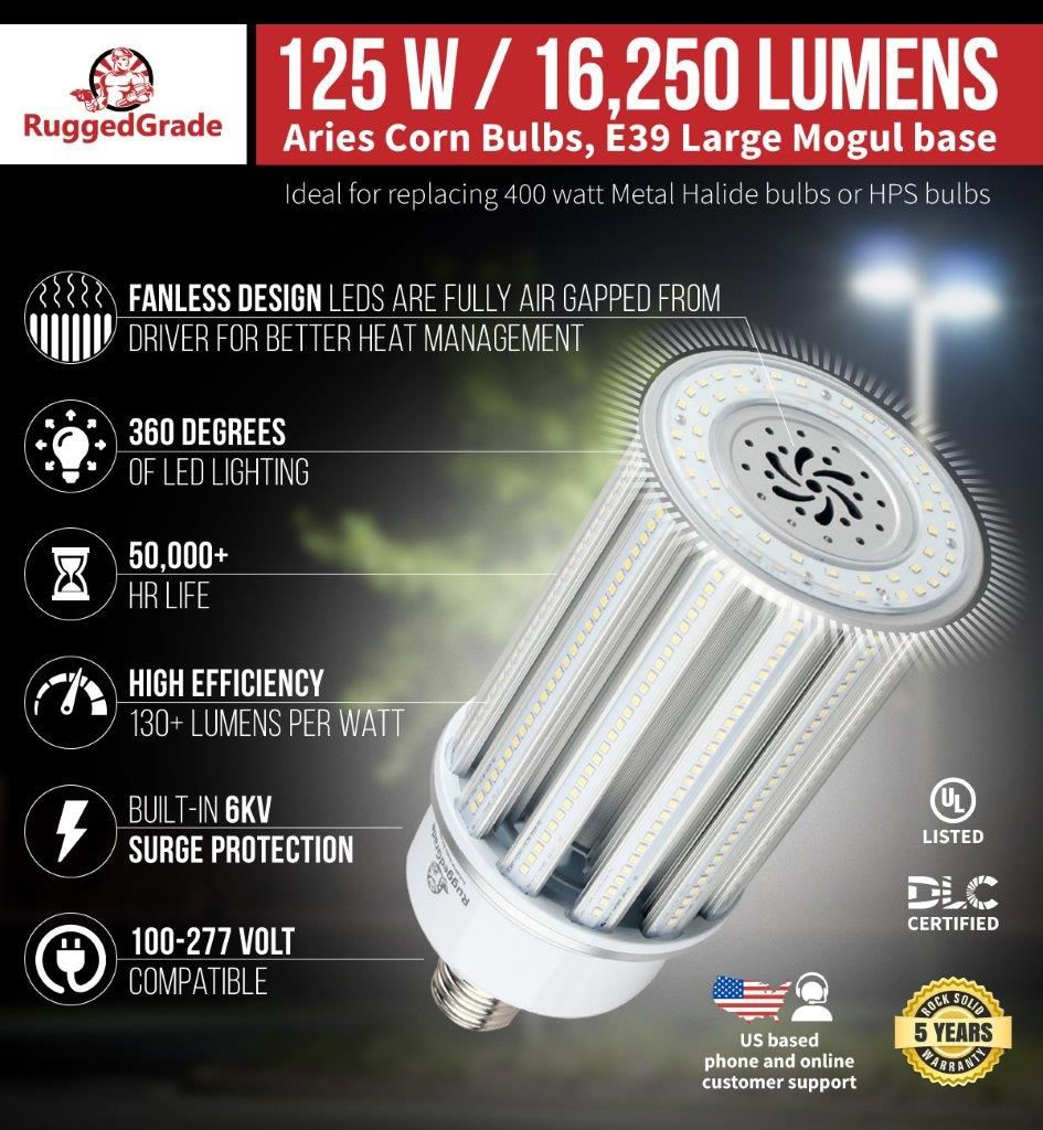 120 Watt E39 Led Corn Bulb Aries S Series 16 250 Lumens Bulb Led Led Light Bulb