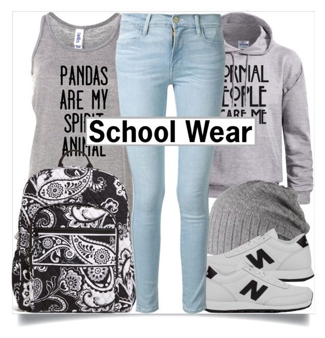 """School Style"" by madeinmalaysia ❤ liked on Polyvore featuring Vera Bradley, Barts, New Balance, Frame, black, Blue and grey"