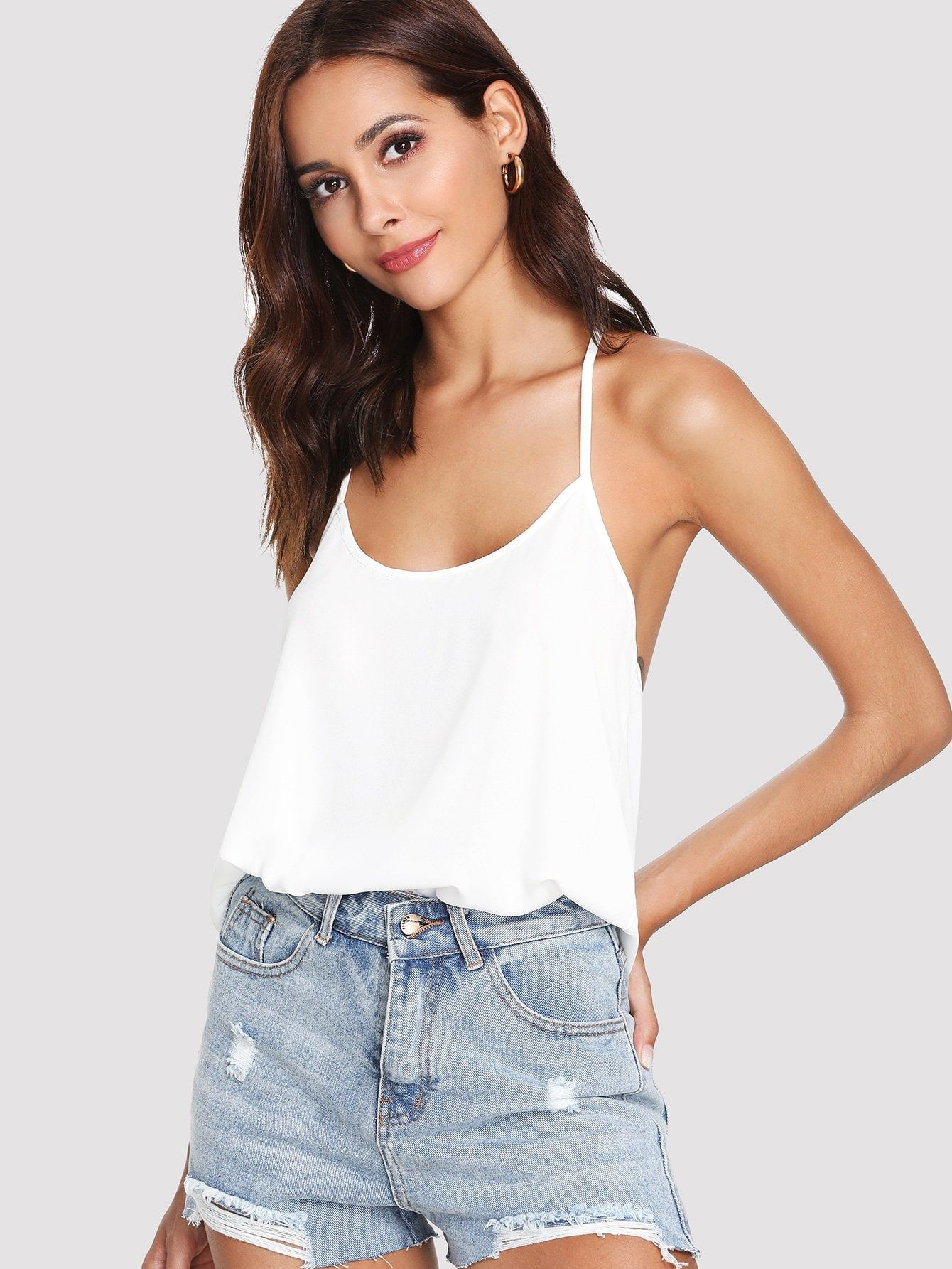 d756a54796 Casual Cami Plain Slim Fit Round Neck White Regular Length Bow Embellished  Open Back Solid Cami