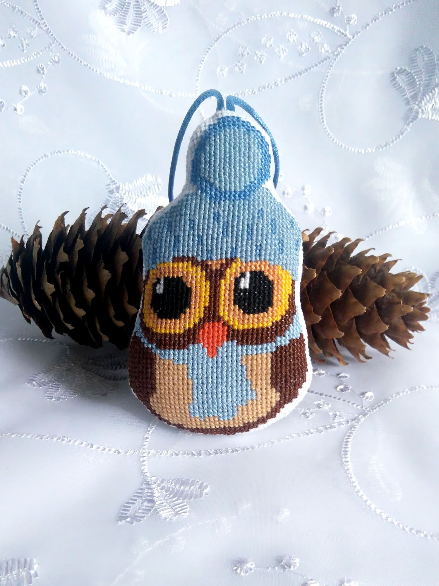 Owl Hand Embroidery Christmas Tree Owl Ornament Brown Owl Toy
