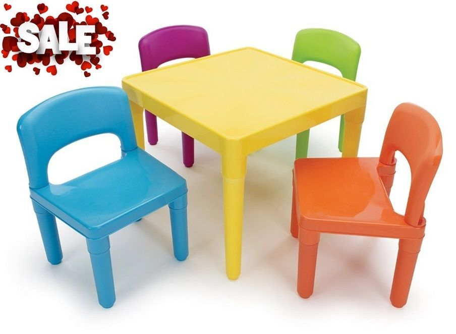 Child Sized Colorful Chairs Table Colors Set Plastic Study