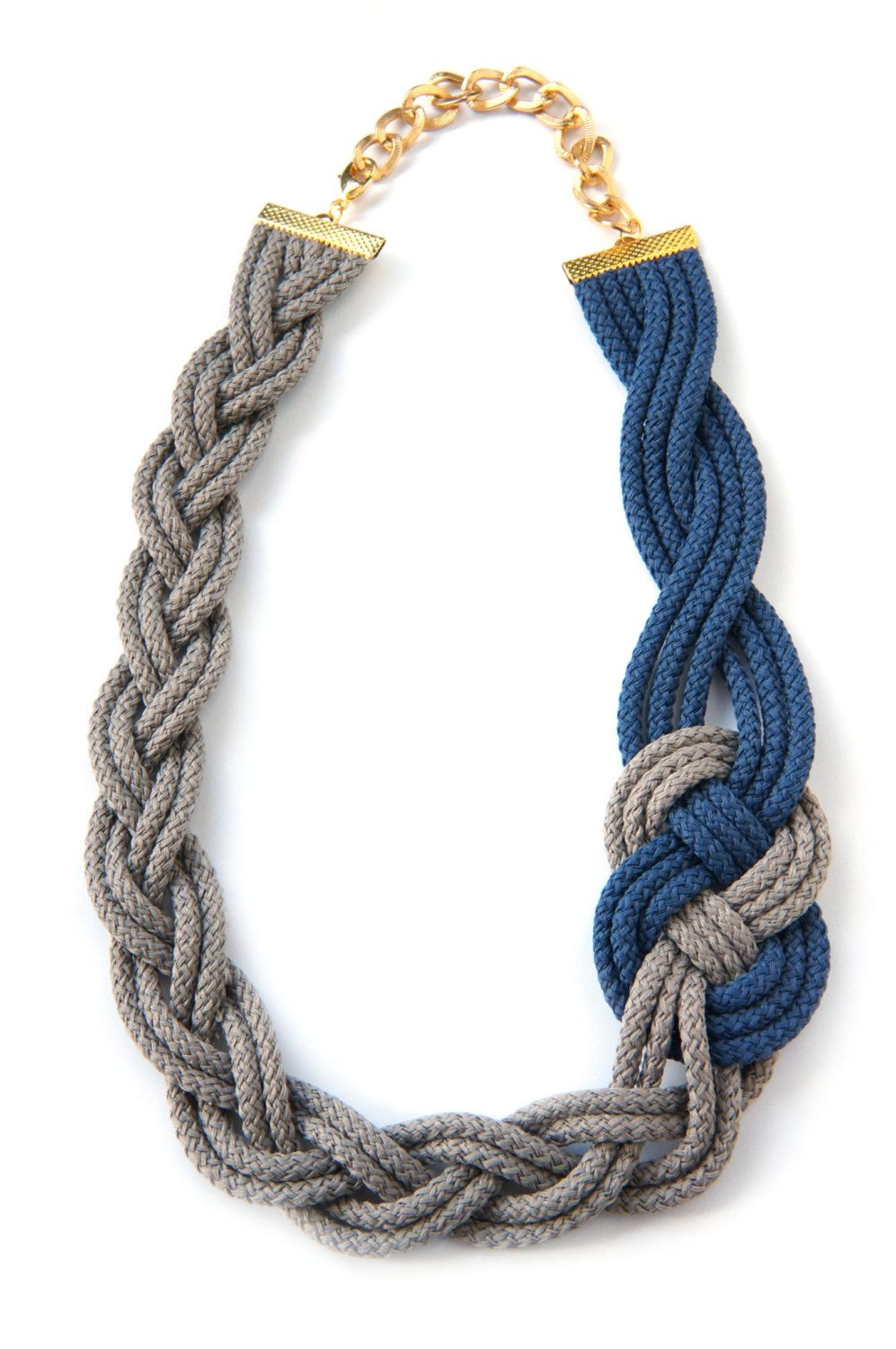 Braided Necklacesailor Knotnautical Styleblue Navy And Beige