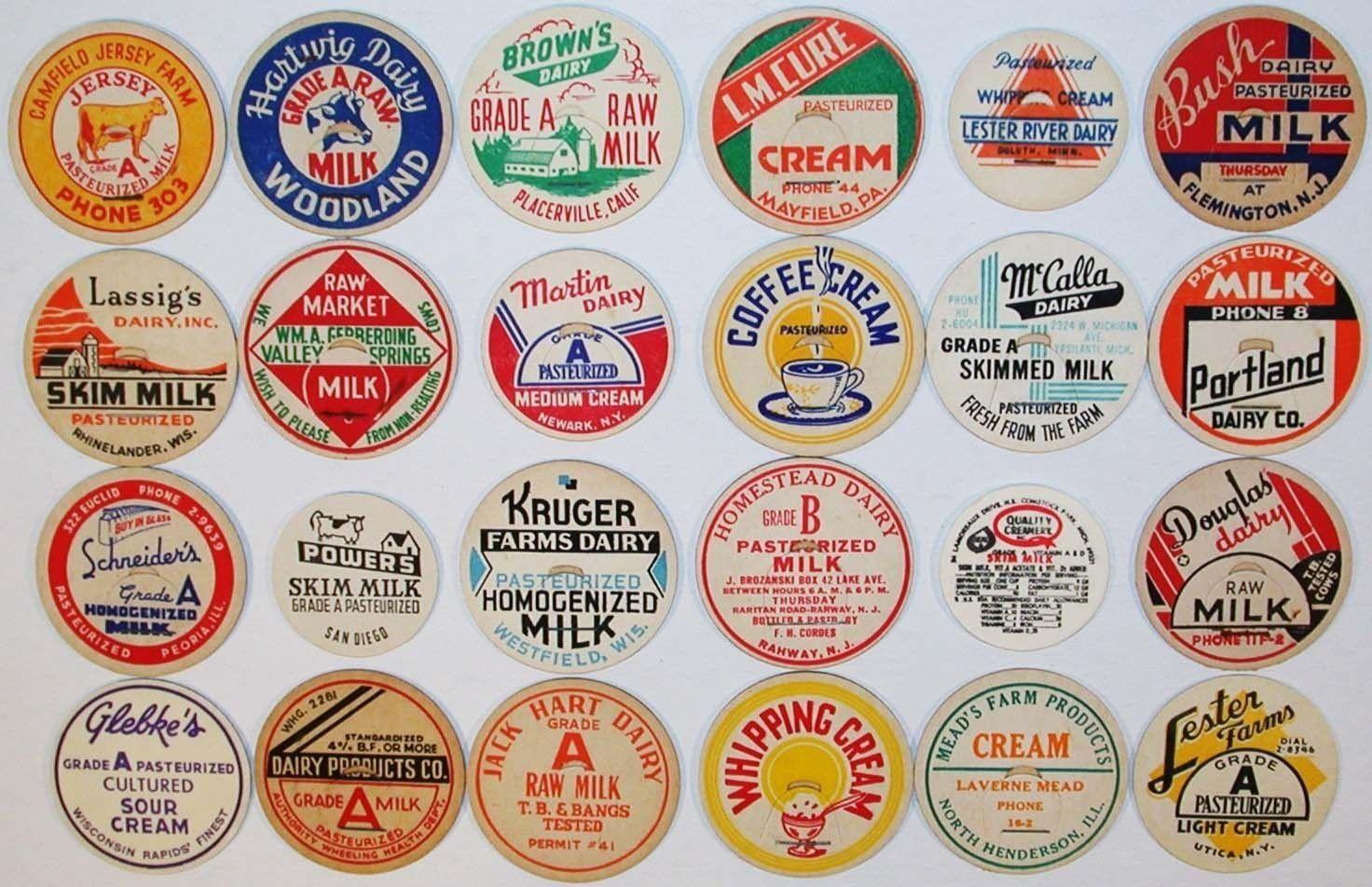 Details about Vintage milk bottle caps LOT OF 7 DIFFERENT large size