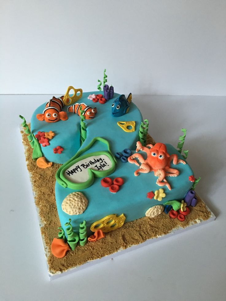 Finding Nemo Finding Dory combo cake for a 2year old birthday
