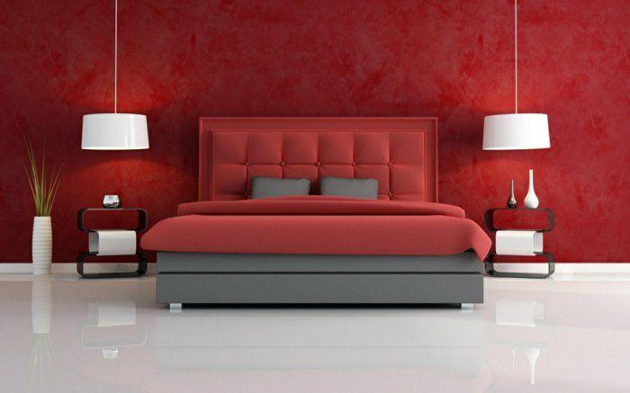 Farbgestaltung Schlafzimmer ~ Farbgestaltung schlafzimmer wandgestaltung wanddesign rot farben