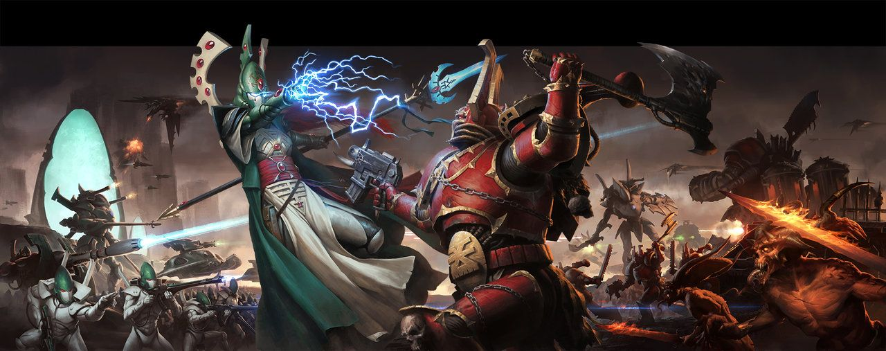 WH40K Conquest: Eldar vs Chaos by wraithdt.deviantart.com on @DeviantArt