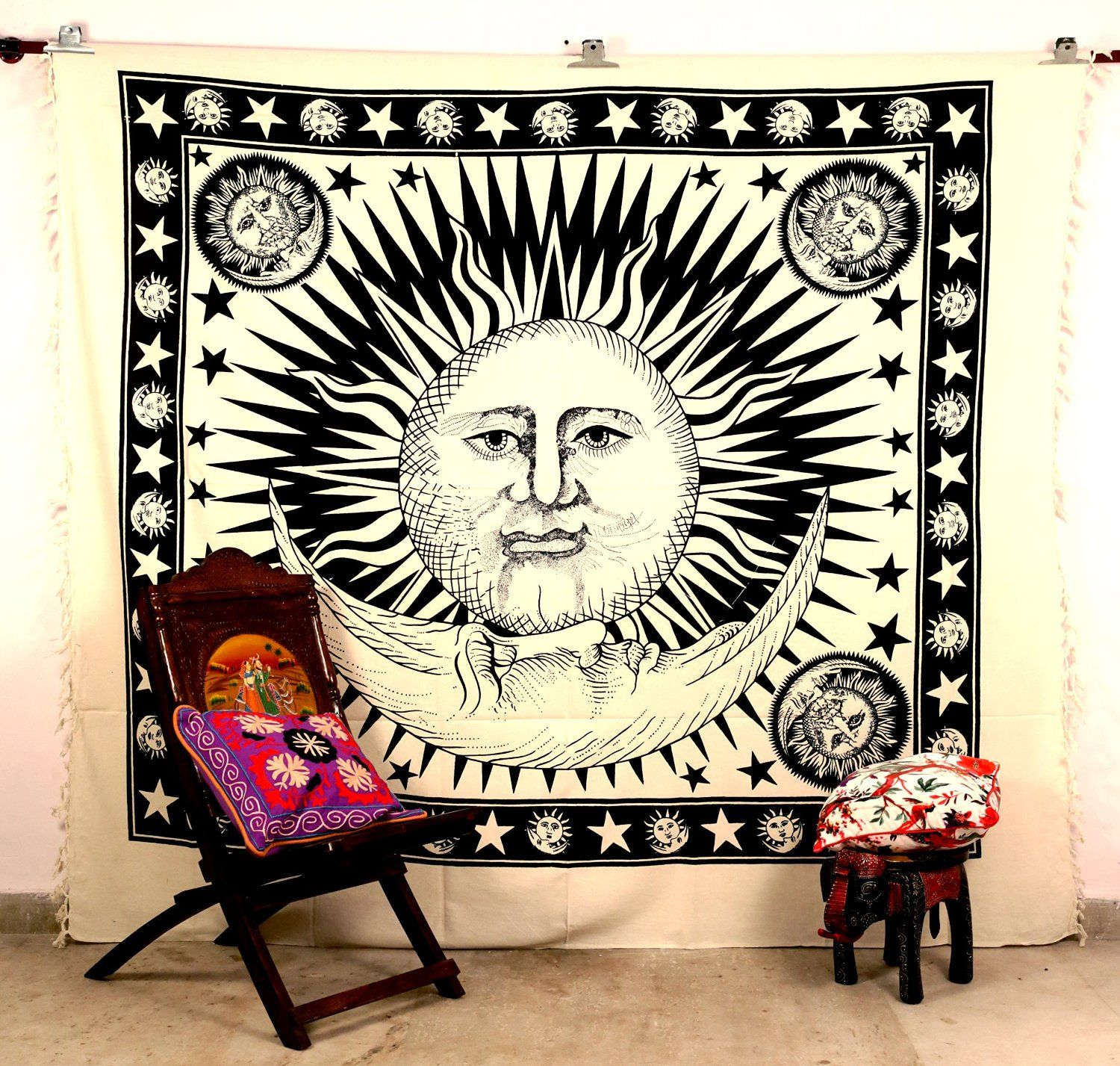 How To Hang A Tapestry On The Wall indian sun moon #wall #hanging #hippy tribal #tapestry