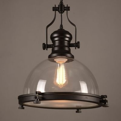 Clear Glass Dome Pendant Light In Black Finish For Kitchen Island