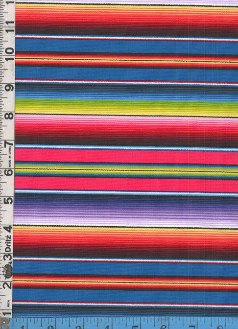 Fabric Elizabeth S Studio Fiesta Serape Stripe Blue Colorway