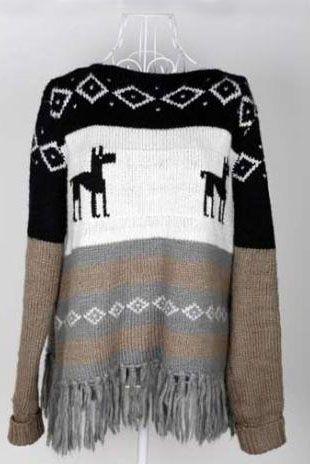 Coffee Christimas Deer Print Long Sleeve Tassel Hem Jumper :}