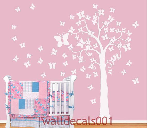 Items Similar To Kids Wall Decals Baby Decals Nursery Decals Tree Decals  Butterfly Decals White Tree Decals Murals Graphic Wall Stickers Butterfly  Tree On ... Part 39