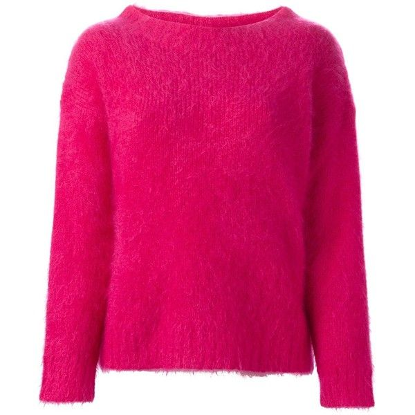Burberry Brit round neck sweater (5 305 SEK) ❤ liked on Polyvore featuring tops, sweaters, burberry tops, fuschia top, round neck top, burberry sweater and round neck sweater