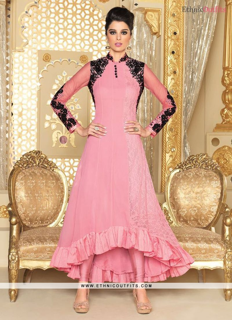 Beguiling Pink Georgette Designer Suit  Email - support@ethnicoutfits.com Call - +918140714515 What's app/Viber- +918141377746