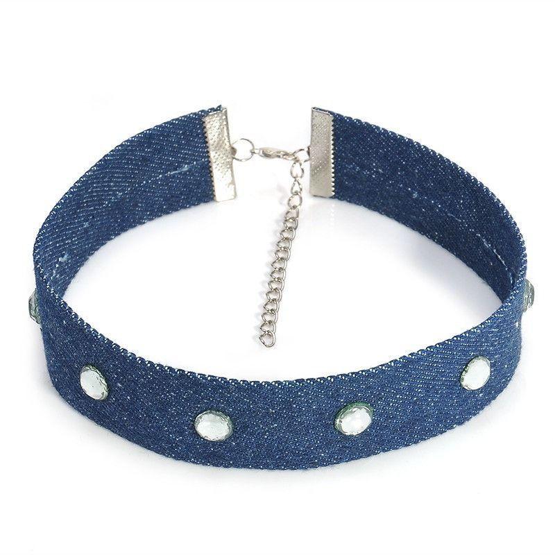 Punk Blue Denim Choker Collar Necklace