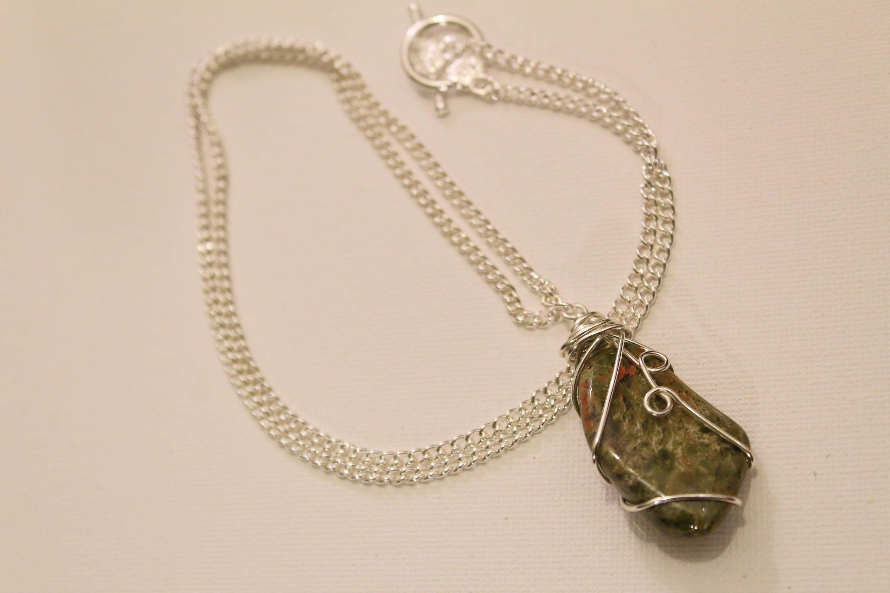 Wire wrapped Unakite pendant Necklace casual Fashion Jewelry For women