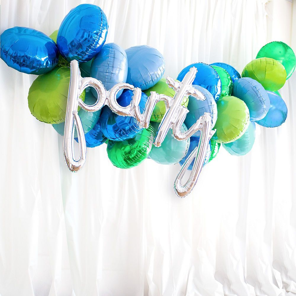 31in AirFilled Silver Party Cursive Letter Balloon
