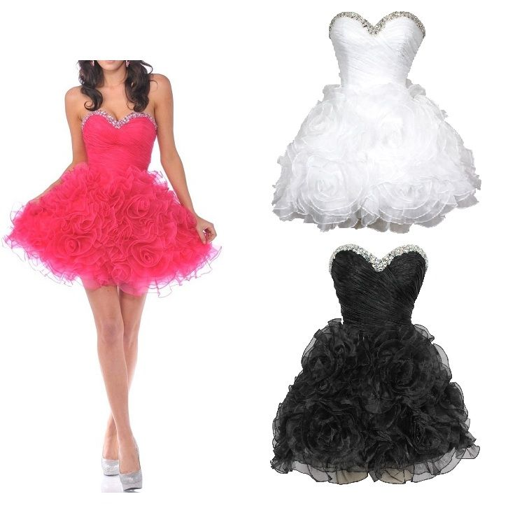 cute dresses for juniors | Cute pink black and white poofy ...