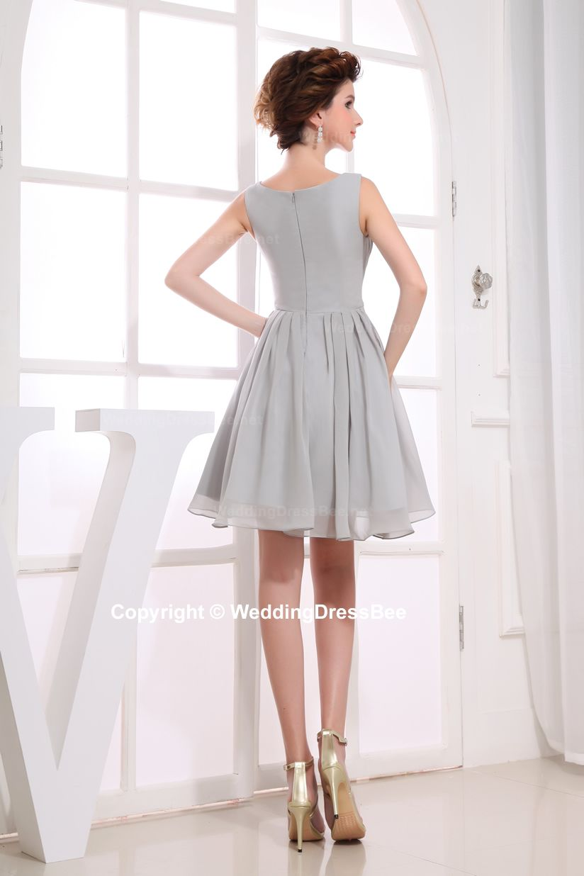 Simple high squre neck above the knee length bridesmaid dress aline