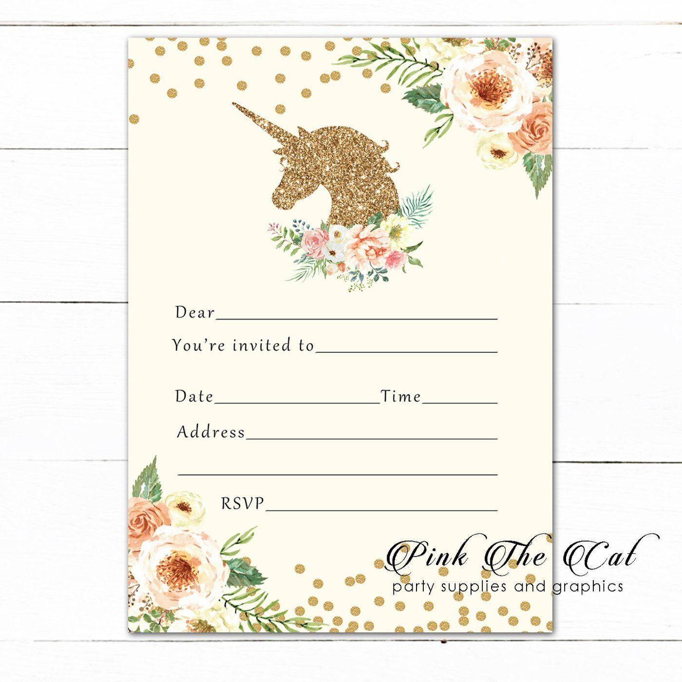 Unicorn Invitation Fill In Blank Peach Gold Birthday