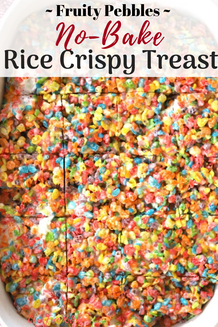 Rice Crispy Fruity Pebble Treats-NO Bake Cookies #crispytreats