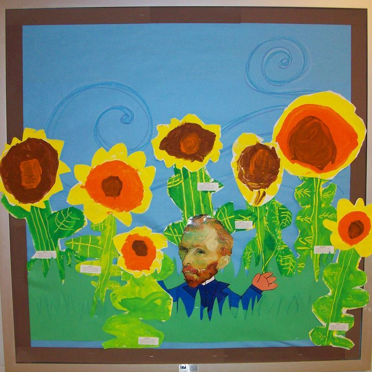Sunflowers for Van Gogh collage multi-media elementary art lesson landscape post-impressionism. Excellent project that allows the little kiddos to work on their cutting of shapes? Or tearing paper for the older kids?